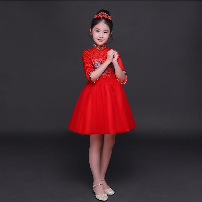 儿童礼服红色中式唐装旗袍裙花童礼服女童公主裙主持古筝演出服春