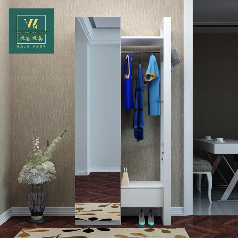 现代简约北欧风鞋柜鞋架衣帽柜客厅隔断门厅柜玄关柜全镜面定制
