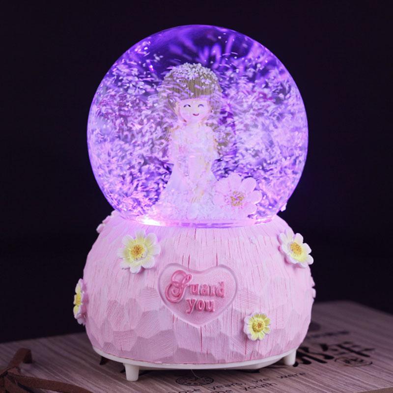 水晶球音乐盒八音盒雪花跳舞小女孩生日礼物儿童公主礼品天空之城
