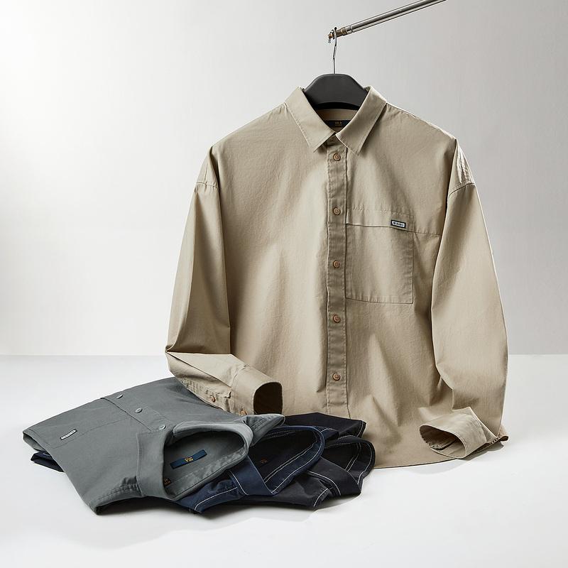 HLA/海澜之家休闲长袖衬衫21年秋季新品男士纯棉工装外套款衬衣