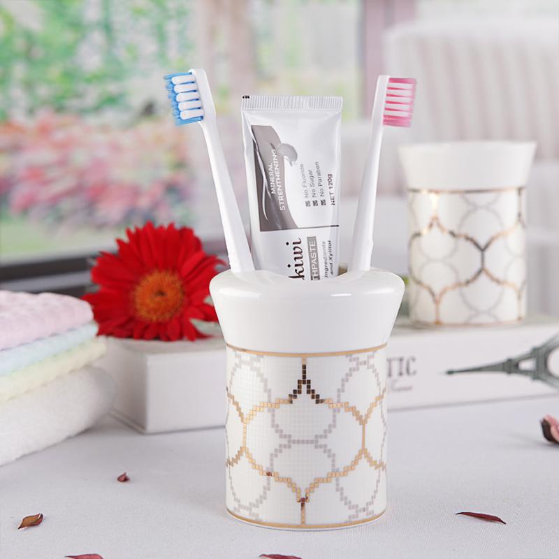 欧式卫浴五件套陶瓷卫生间浴室用品套件美式洗漱套装牙刷架漱口杯