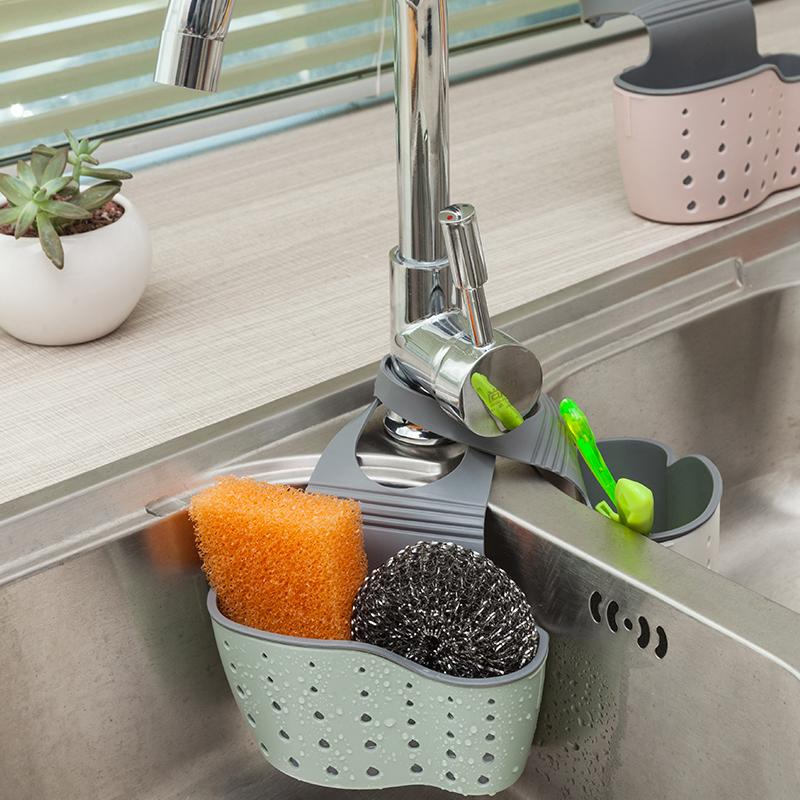 家用水槽瀝水籃掛袋水龍頭海綿置物架洗菜洗碗水池免打孔收納掛籃