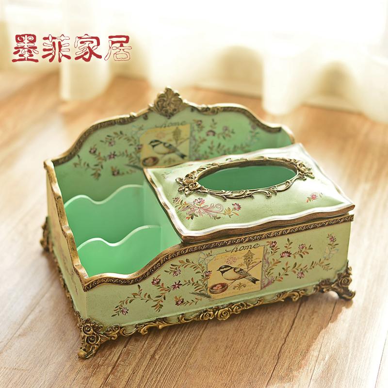 欧式田园客厅茶几水果盘美式复古餐桌家用纸巾盒烟灰缸三件套装