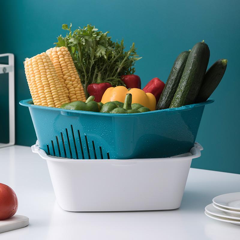茶花双层洗菜篮子塑料沥水篮厨房淘米洗菜盆家用客厅创意水果盘高清大图