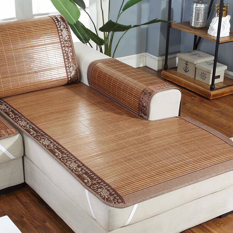 沙发垫夏季凉席凉垫防滑沙发套罩夏天款万能通用全包藤竹席坐垫子