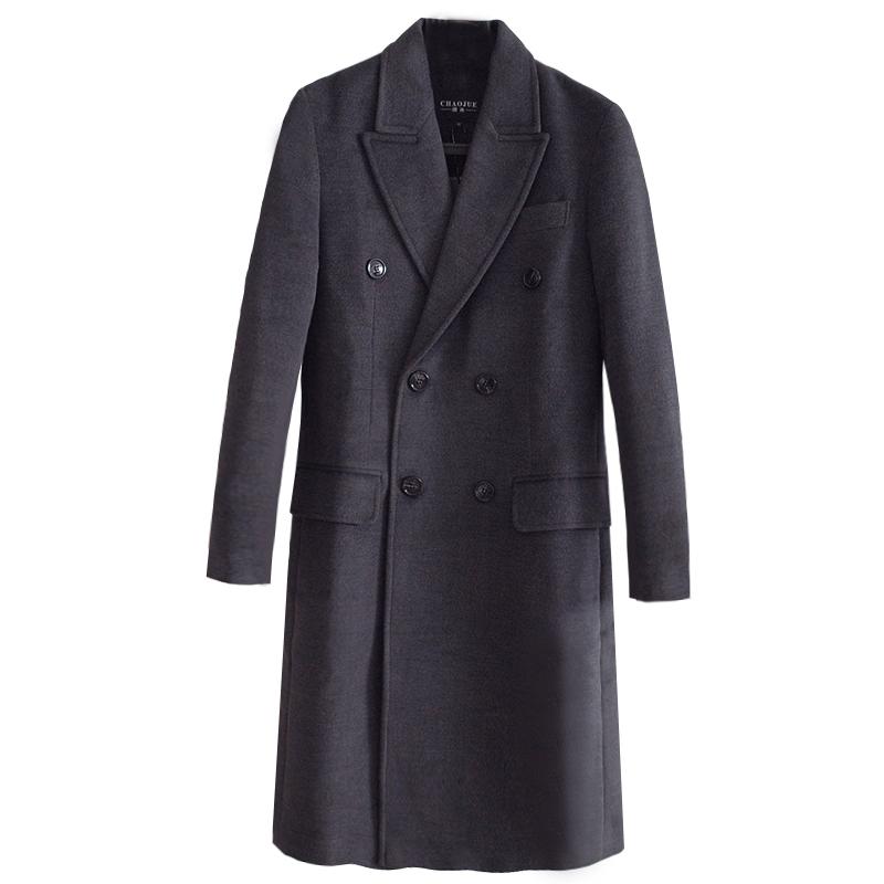 毛呢外套男2019春秋新款欧洲站双排扣长袖长款羊绒大衣大码NO.988