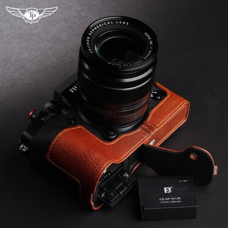 臺灣TP 真皮富士XT3皮套 XT2相機包 X-T3手柄半套 復古牛皮保護套