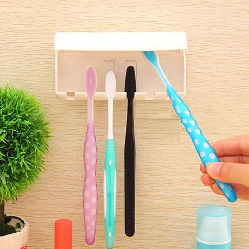 日本創意浴室簡約放牙刷架保潔掛架衛生間3M貼上式防塵牙刷置物架