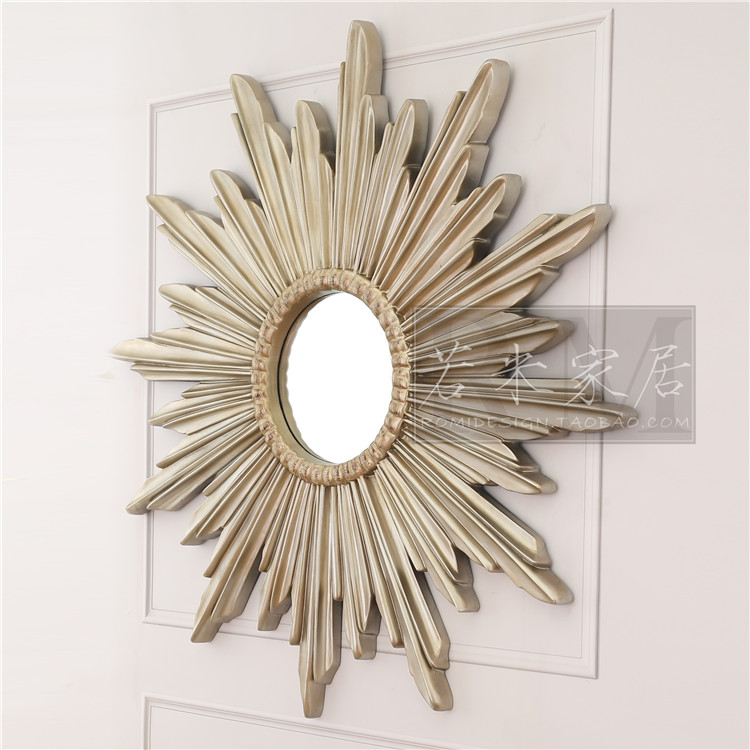 1.4米/90欧美式装饰镜挂镜壁炉沙发挂件餐厅圆形玄关镜香槟银金色