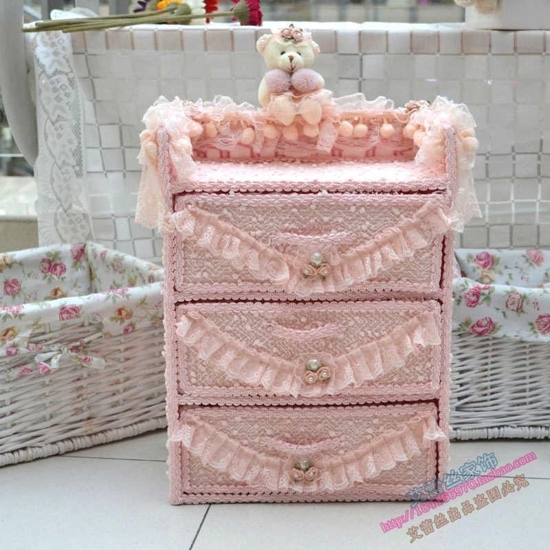 化妝品盒 小抽屜 粉色蕾絲 藤編三層抽屜組合收納櫃 抽屜式收納盒