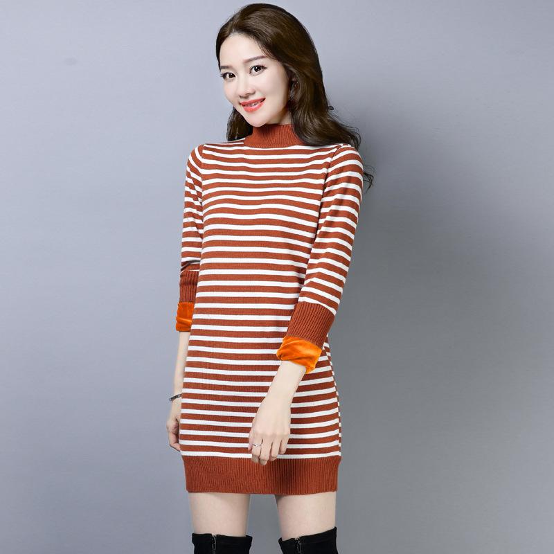 韩版加绒加厚中长款毛衣女秋冬季修身打底衫半高领大码保暖上衣春