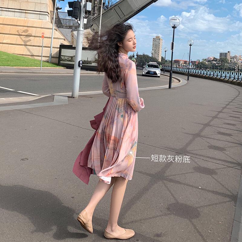 大喜自制2019春季新款流行裙子春秋长款法式气质甜美吊带连衣裙女