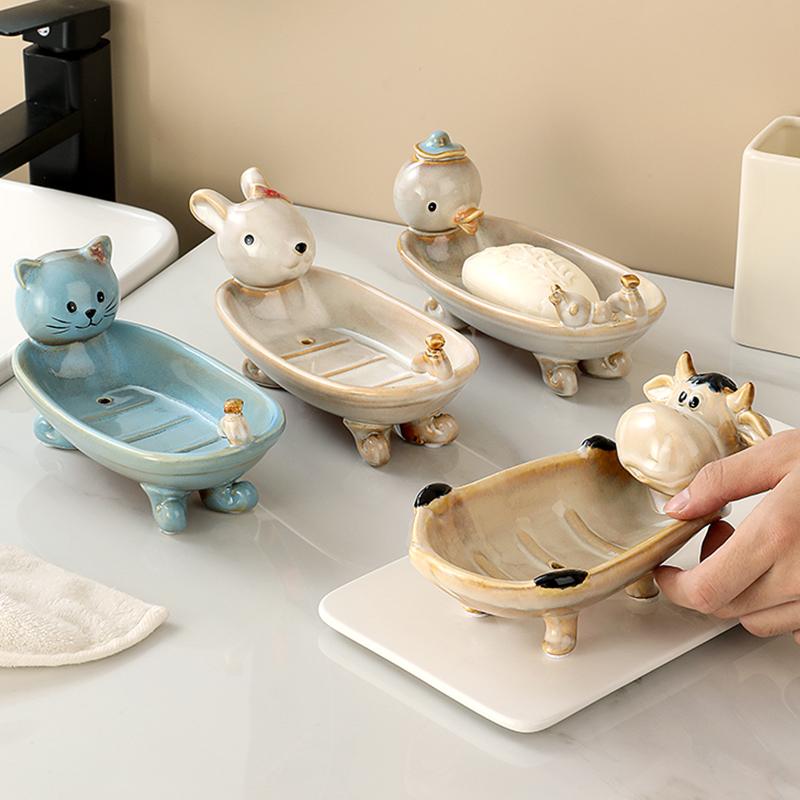 欧式创意卡通肥皂盒家用陶瓷沥水香皂盒儿童可爱卫生间浴室香皂架