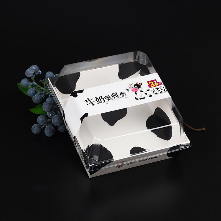 好奶油牛奶做牛奶奥利奥包装盒纸塑三明治盒正方西点雪媚娘班戟盒 - 图2