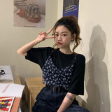 Autumn 2019 new Korean version of outer wear chic sling net red HyunA was thin coat loose floral two-piece female