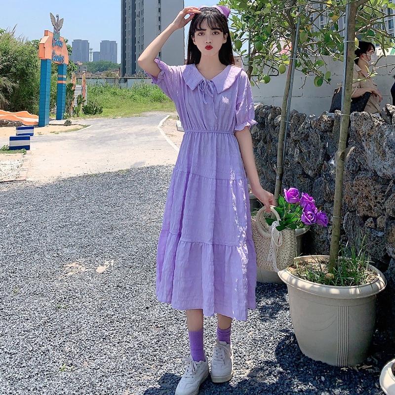 气质裙子紫色连衣裙女夏夏季2020年新款夏天女神范中长款夏装长裙
