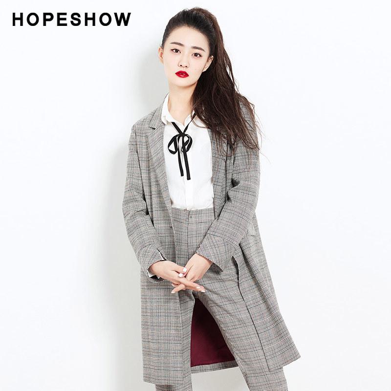 红袖女装2018春装新款徐璐同款修身英伦风长袖格纹西装风衣外套