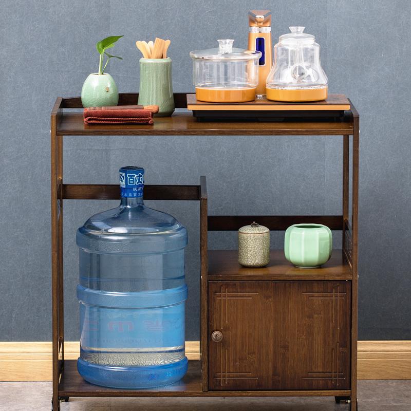 楠竹简约茶水柜储物柜餐边柜茶桌边几茶边柜实木置物架收纳茶水架