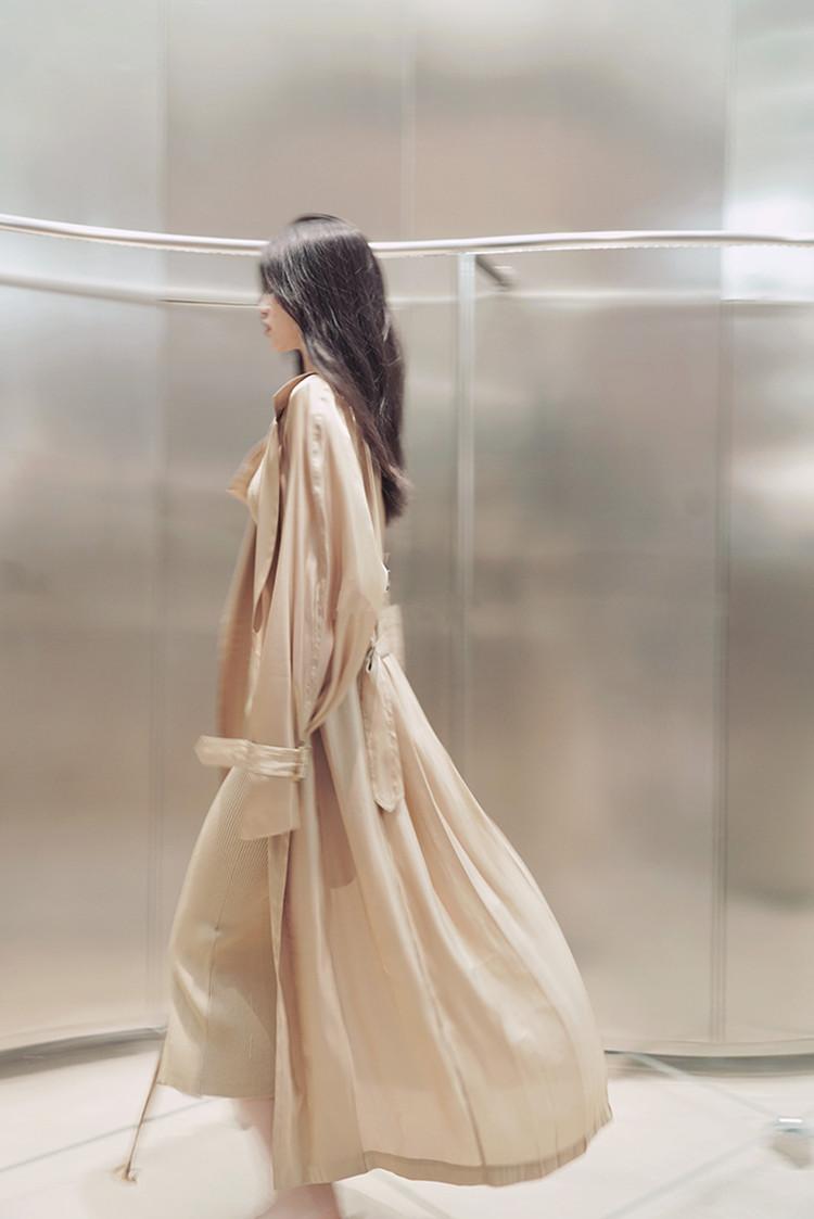 和服式流金风衣中长款外套薄防晒服绝美光泽本期强推 晴天女神