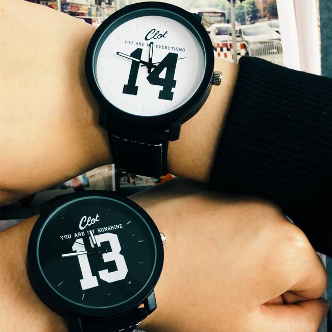 韩版大表盘黑白中学生男情侣手表一对复古皮带女生时尚潮流男石英