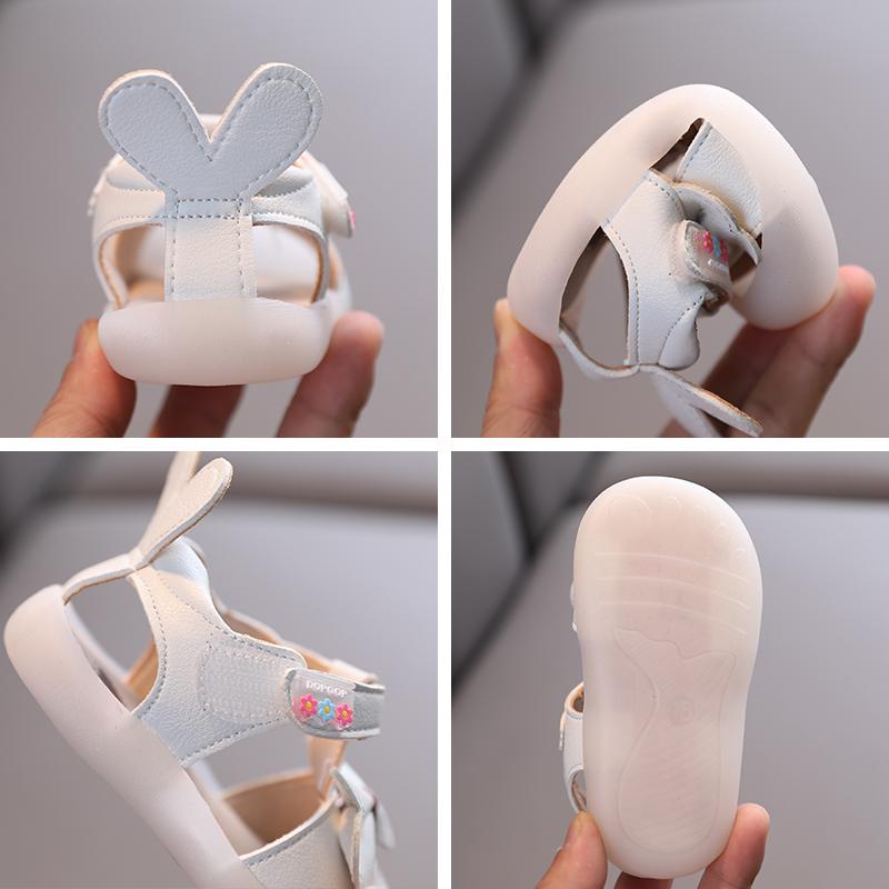 夏季婴幼儿软底学步鞋宝宝包头凉鞋0-1-2一岁3女孩小童公主鞋透气