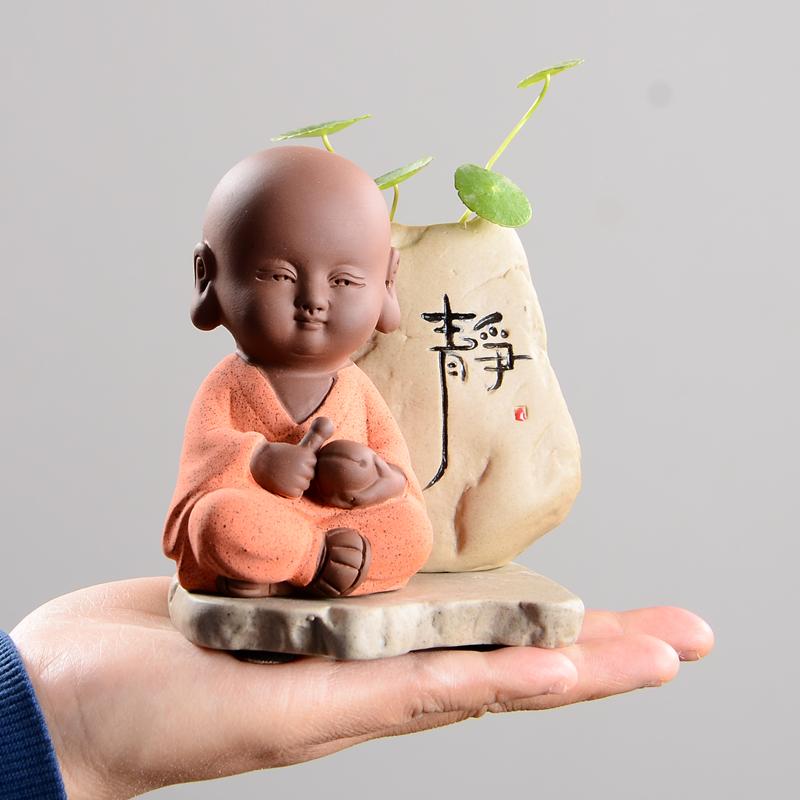可爱小和尚迷你小花器水培花瓶创意茶宠摆件精品可养茶桌茶具禅意