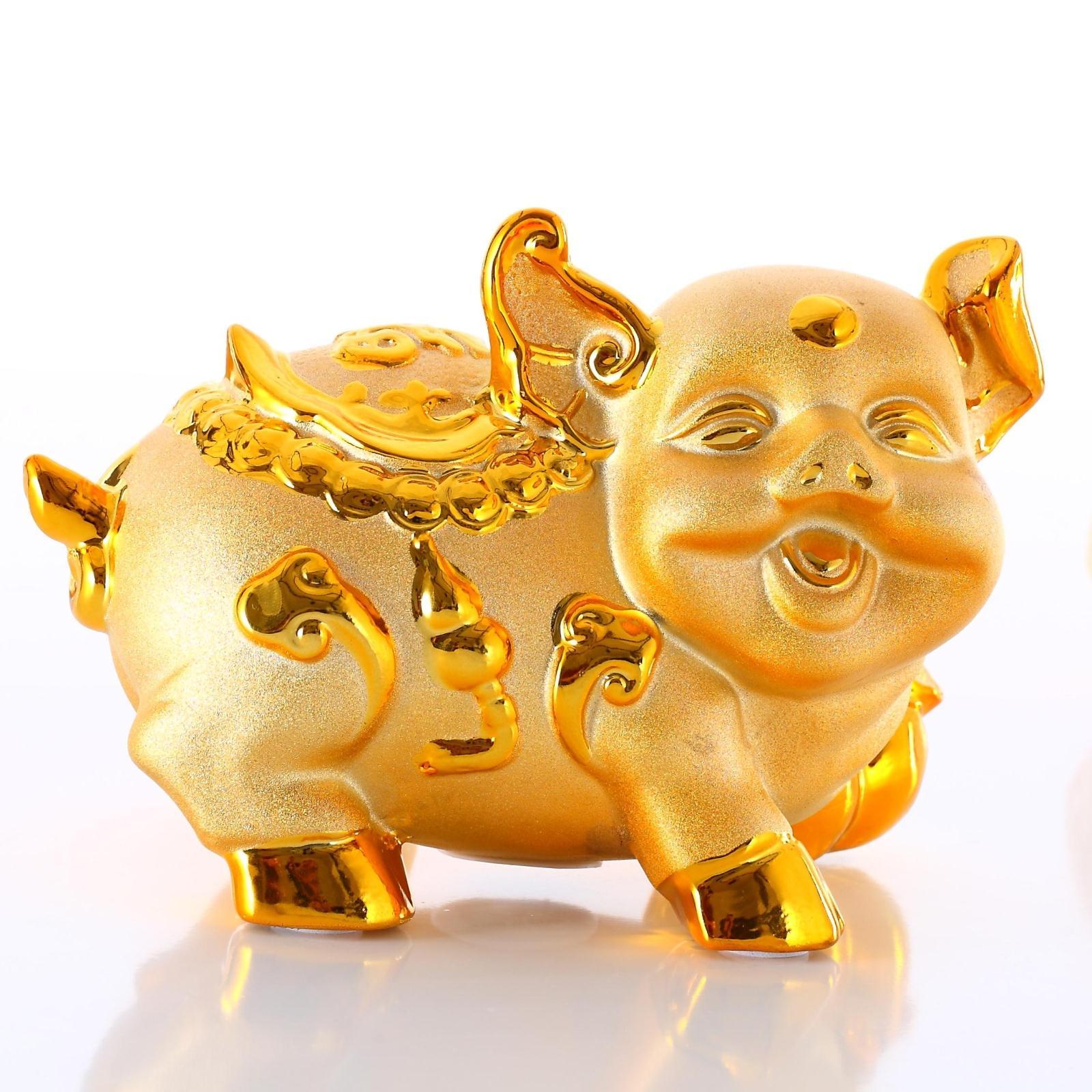新品招财纳福金猪陶瓷储蓄罐超大号金色存钱罐镀金开业高档摆件