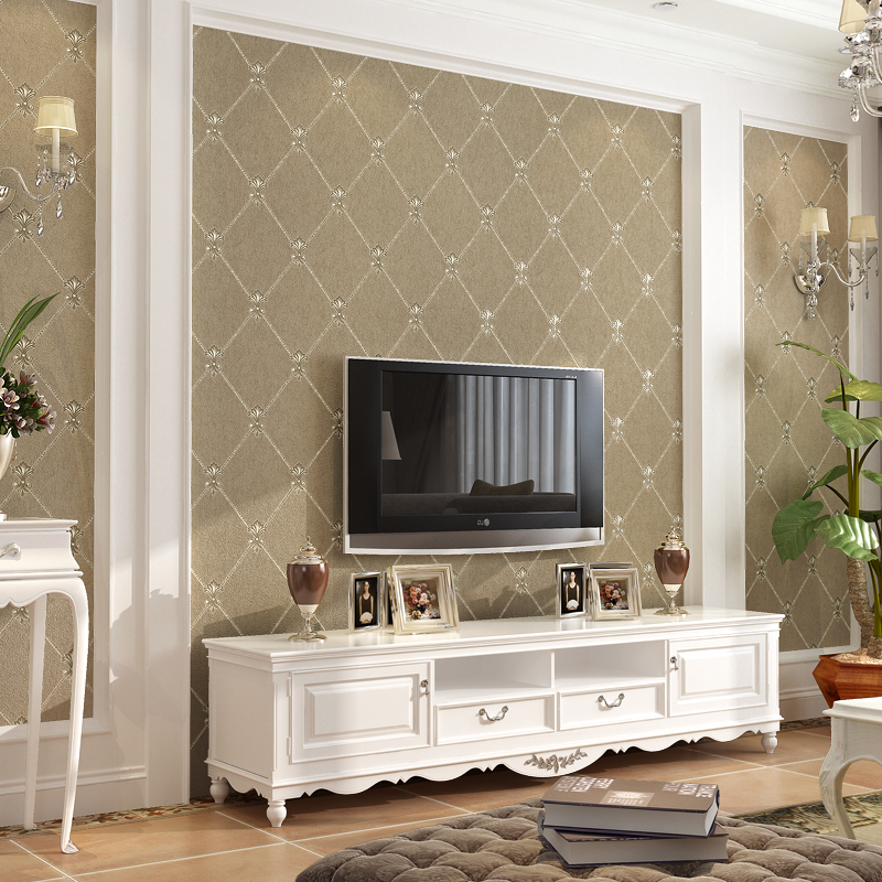 旗航壁纸欧式电视背景墙壁纸装饰无纺布简约现代客厅卧室墙纸菱格