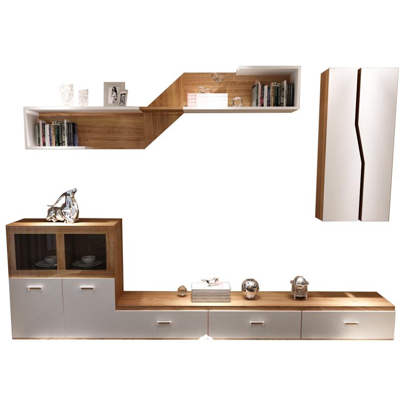 新红阳客厅电视柜组合柜简约现代北欧电视背景墙实木颗粒原木低矮