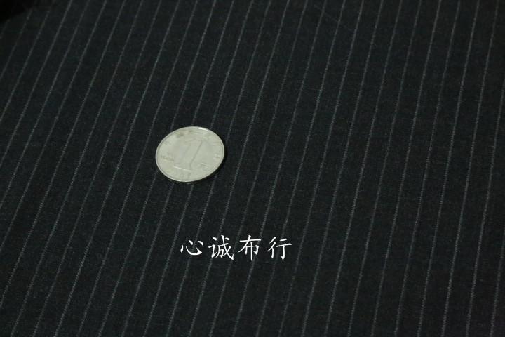 进口高含毛 黑灰色竖条纹精纺羊毛布料 西装套装外套连衣裙面料