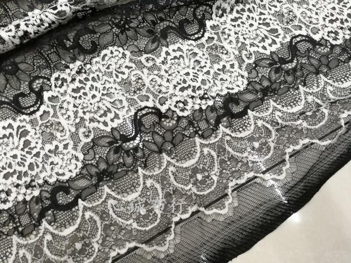 高档垂感 刺绣感黑白竖条纹蕾丝时装布料 连衣裙长裙小香套装布料