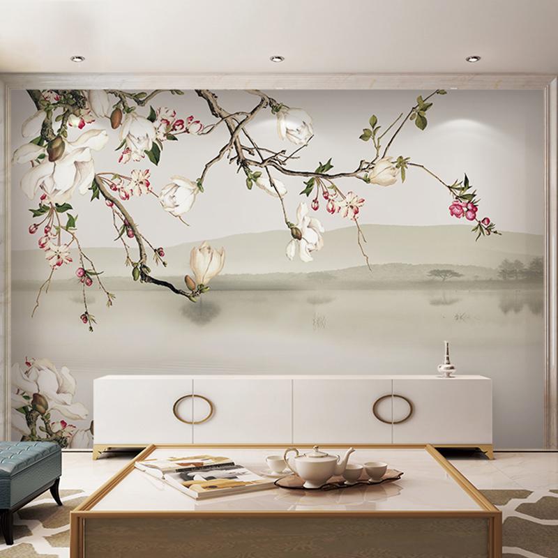 新中式玉兰花鸟壁纸壁画定制墙纸客厅电视背景墙沙发背景墙无纺布