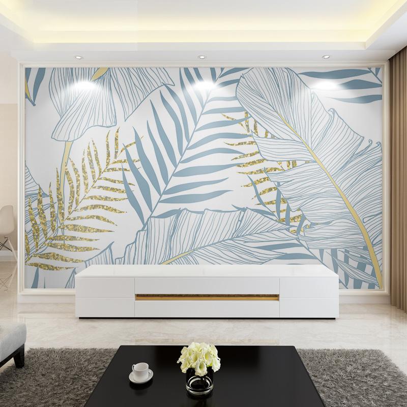 北欧风墙纸时尚现代客厅电视背景墙壁画创意植物定制壁纸卧室墙布