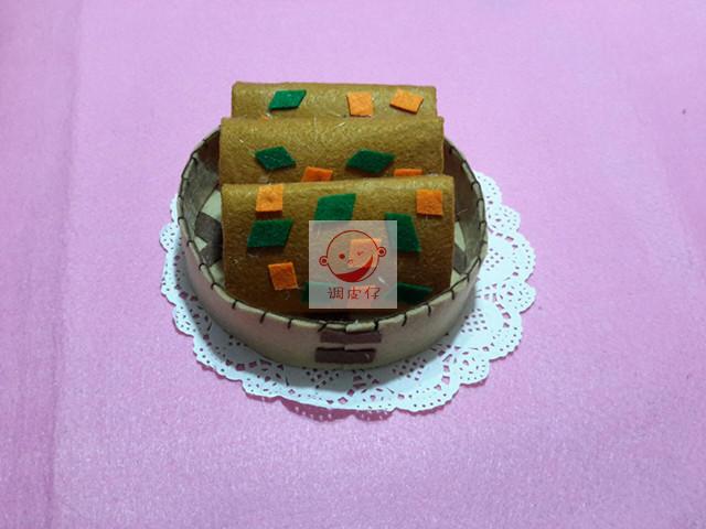 不织布成品 幼儿园手工作业 中华美食成品+蒸笼套装成品 仿真食物