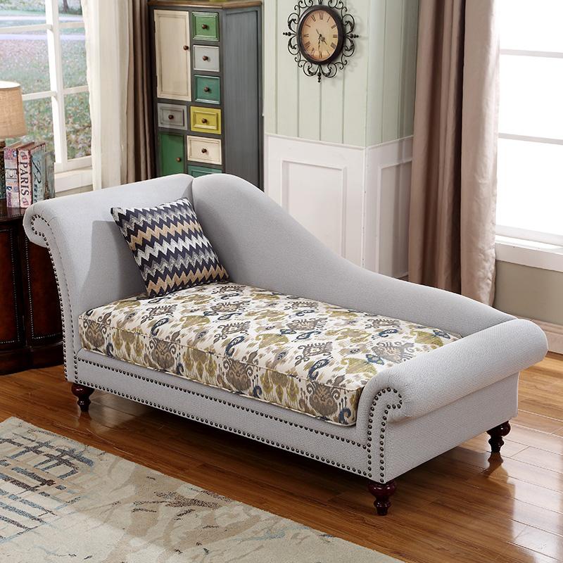 美式乡村卧室客厅布艺简约懒人沙发田园贵妃椅单人躺椅美人榻