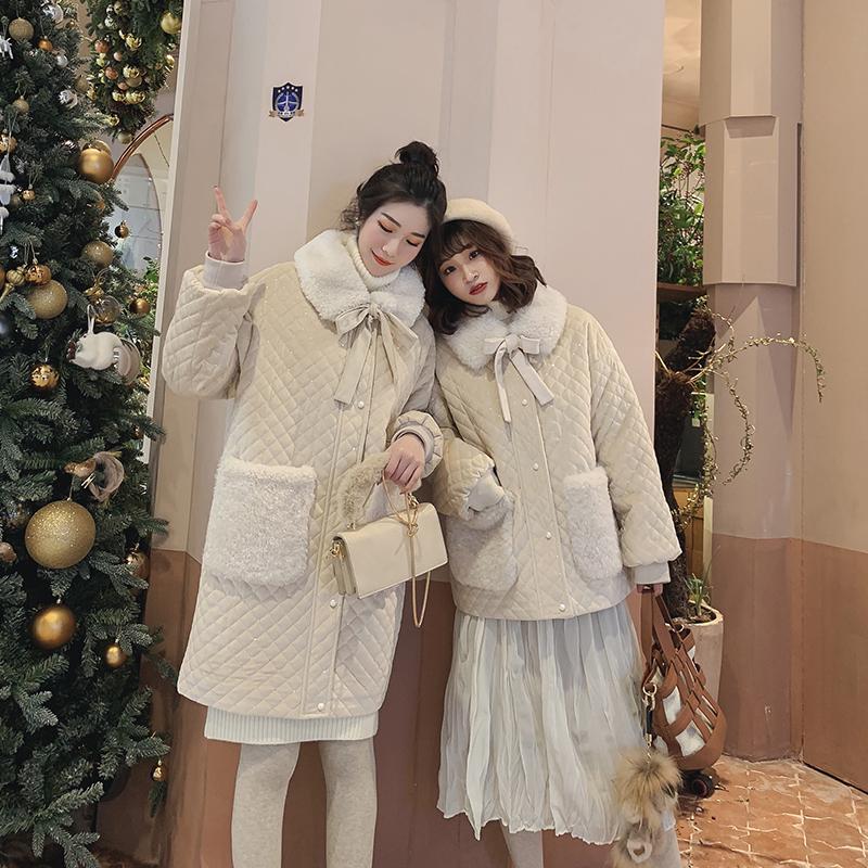 冬季2018新款大口袋菱格丝绒棉服女中长款蝴蝶结毛领加厚棉袄外套