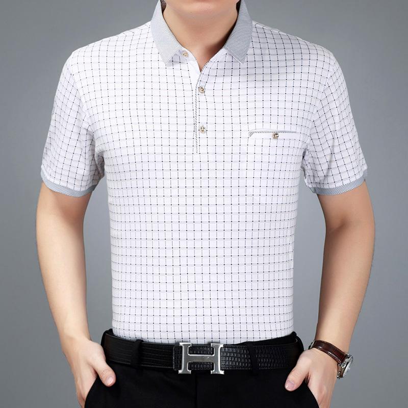 上衣服夏季丝光棉男士短袖  恤衫薄款爸爸装 t 夏装中年男装翻领 polo