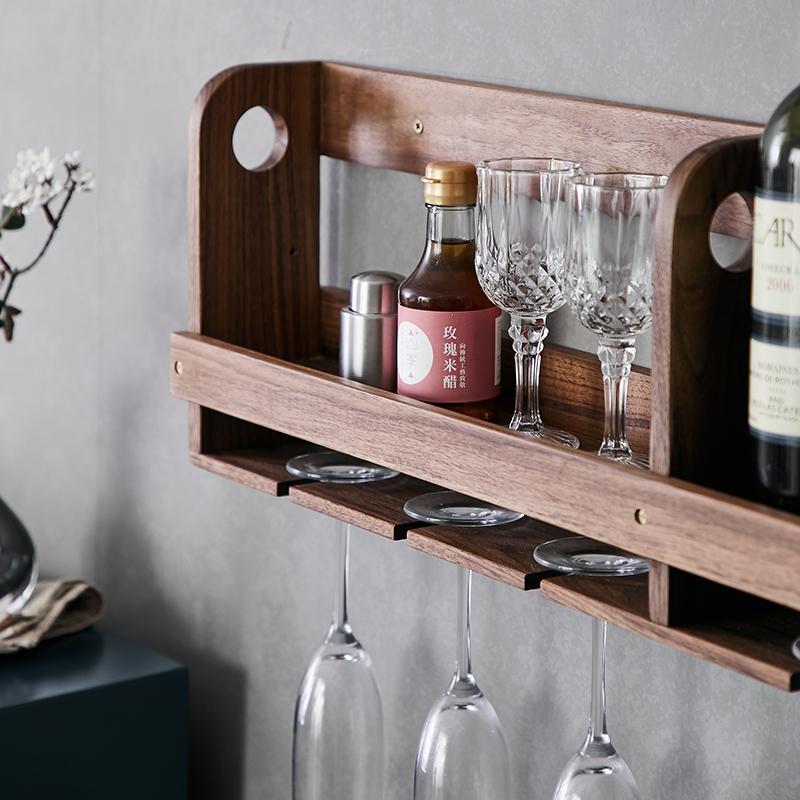 家用黑胡桃实木壁挂红酒架简约墙壁置物架北欧餐厅悬挂杯架倒挂
