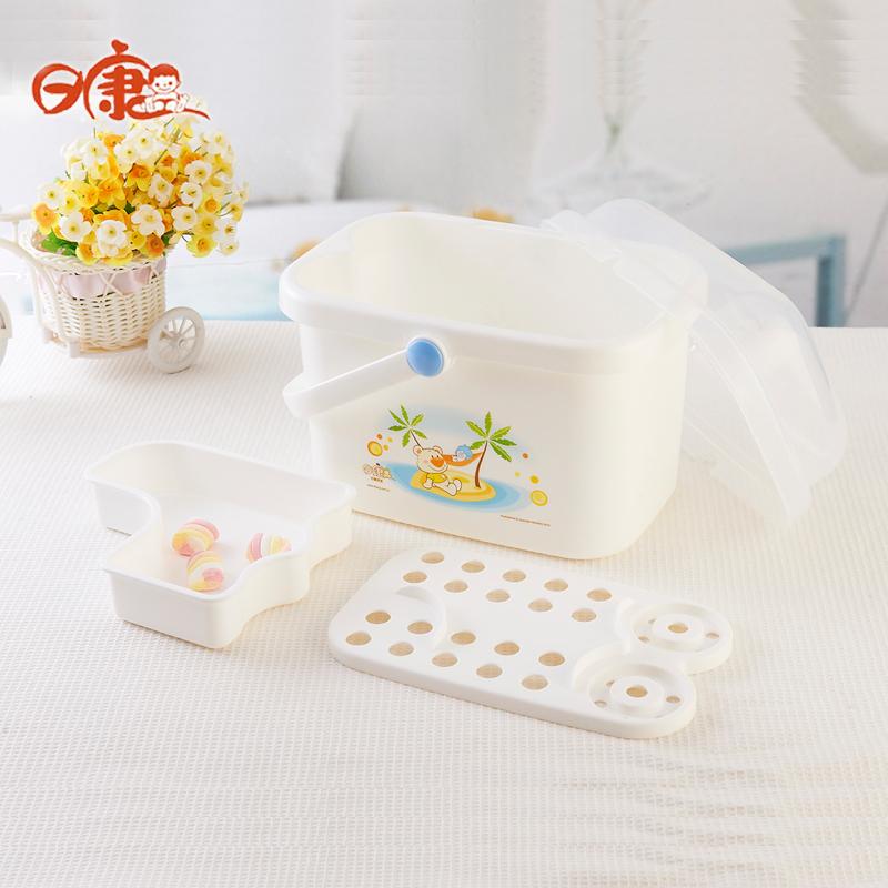 日康婴儿便捷收纳盒宝宝奶瓶箱 奶粉儿童餐具存储箱 RK-3665