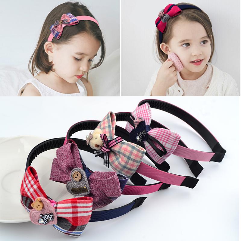 韩国儿童发箍发饰蝴蝶结带齿防滑公主头箍女童发卡子小女孩头饰品