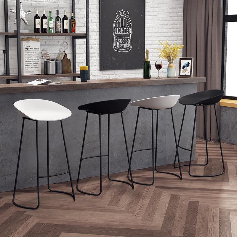 北欧铁艺创意简约时尚酒吧台椅凳子休闲咖啡厅前台高脚凳设计师椅