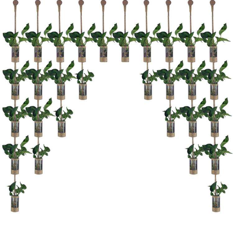 创意DIY装饰花插隔断帘麻绳玻璃水培绿植花瓶店铺家居门厅隔墙【图5】