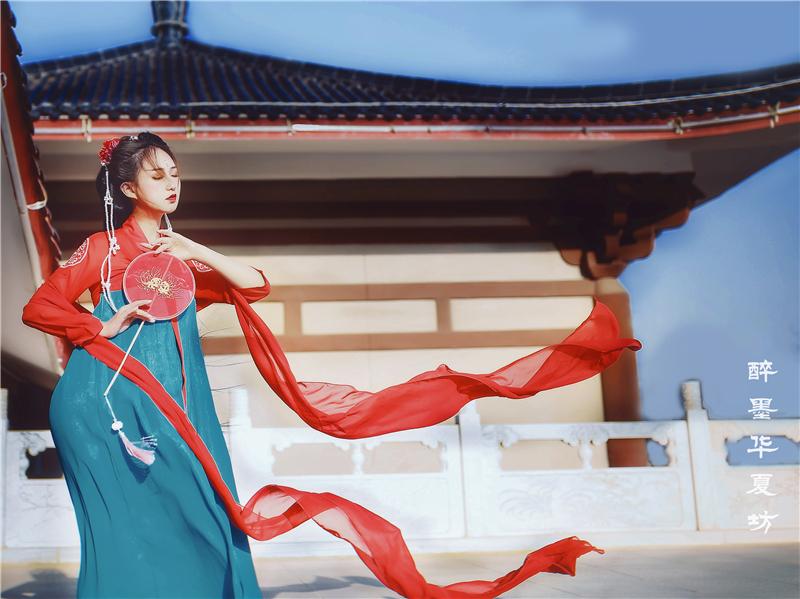cosplay服装古装汉服齐胸襦裙拖地飘逸仙女古筝演出服装影视写真