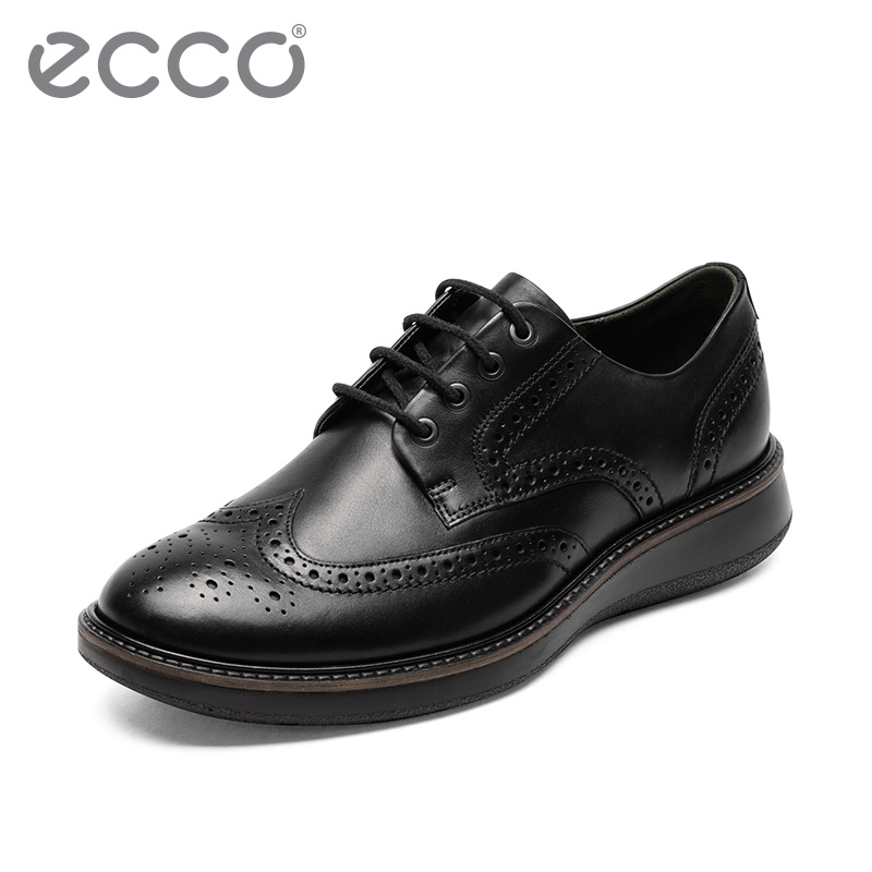 ECCO爱步男士正装商务皮鞋 秋季男鞋英伦雕花布洛克鞋 拉夏600824