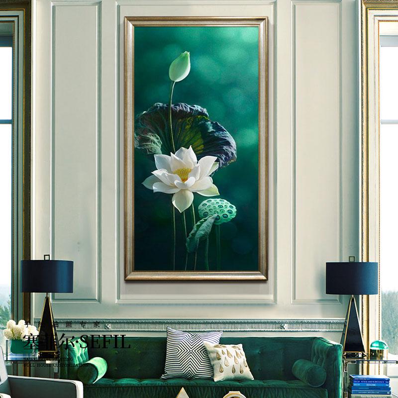 荷花手繪油畫現代簡約客廳裝飾畫大幅立體新中式豎版玄關花卉掛畫