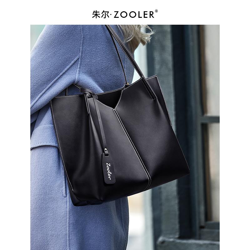 新款潮简约时尚女士单肩包女 2020 朱尔大容量通勤托特包真皮大包包