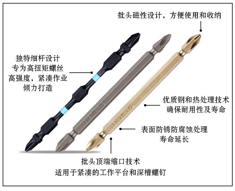 博世批头十字磁性德国工业级电动螺丝刀批头加长超硬电转批咀