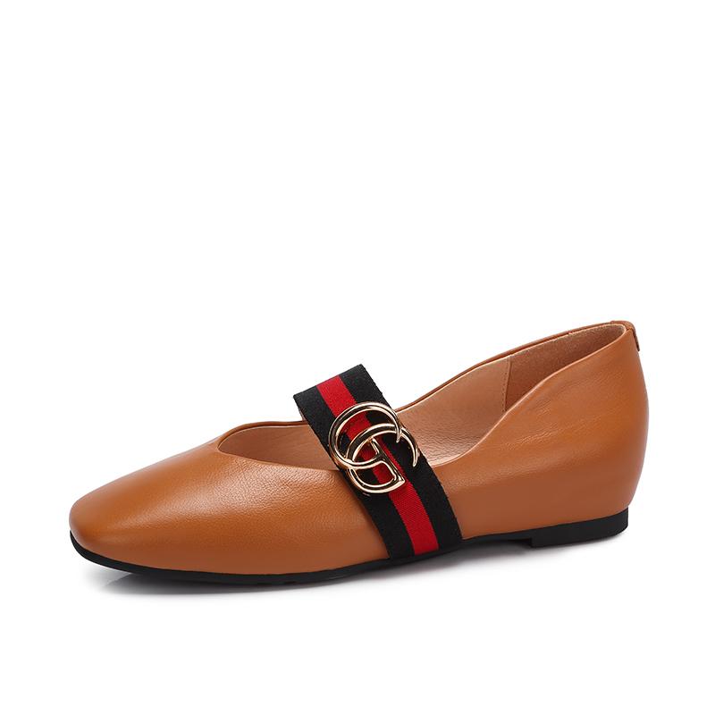 骆驼女鞋 春秋新款浅口单鞋女 复古内增高方头英伦风百搭玛丽珍鞋