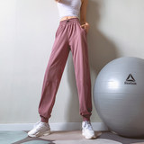 Fitness girl loose sports pants beam feet running summer thin section was thin overalls high waist quick-drying yoga trousers