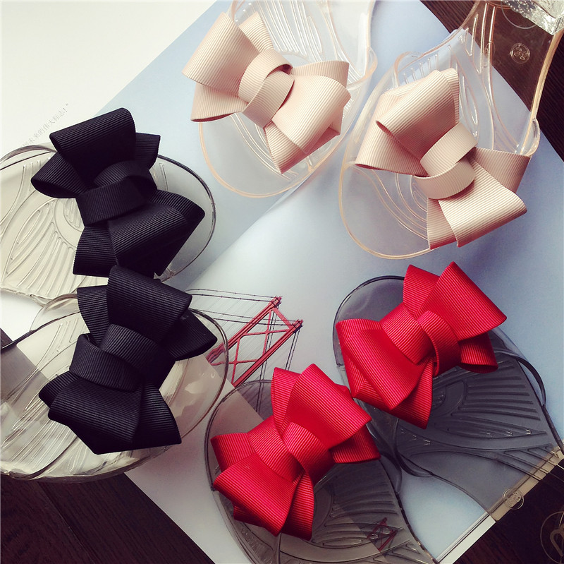 新款蝴蝶結平底涼鞋魚嘴女鞋塑膠鞋水晶鞋孕婦鞋防水防滑舒適鞋